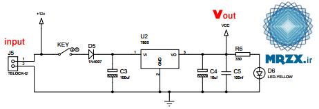 مدار تغذیه- تبدیل ولتاژ 12 به 5 ولت