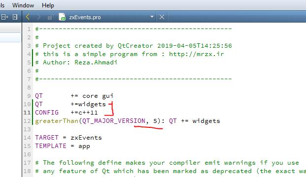 تنظیمات فایل .pro  در محیط کیوتی